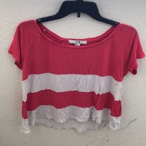 Pink & white strip crop tee shirt size Small